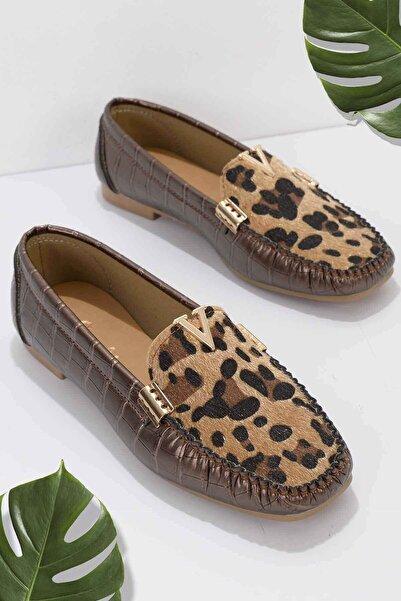 Bambi Bakır Leopar Kroko Kadın Loafer K01542030411