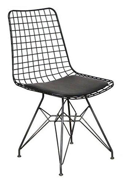 Baysam 3 Adet Siyah Tel Dış Mekan Mutfak Bar Ofis Sandalyesi