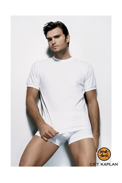 Çift Kaplan Erkek Beyaz 3'lü Amerikan Yaka T-shirt Fanila 940
