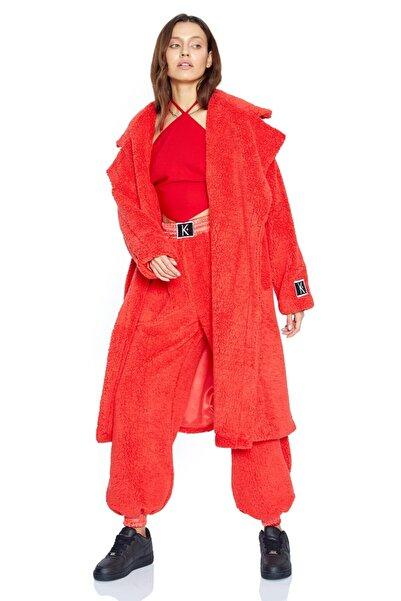 Keikei Kadın Kırmızı Teddy Bear Uzun Kol Orta Boy Jacket