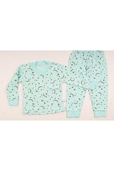 Naynom Bebek Yeşil Organik Pamuklu Ay Yıldız Desenli Pijama Takımı