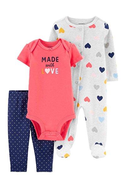 Carter's Kız Bebek Pembe 3'lü Kalp Desenli Tulum Body Ve Pantolon Set