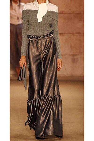 MERT ERKAN Kadın Silver Saten Pantolon