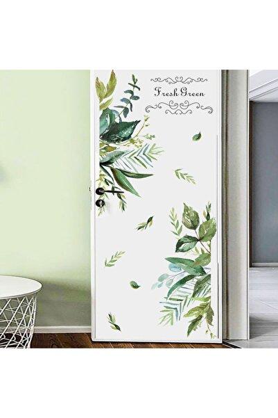 Famelya Botanik Modern Yaprak Kapı Ev Dekor Duvar Sticker Çıkartma Seti