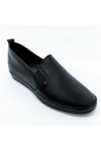stok83 Kadın Siyah Deri Ayakkabı