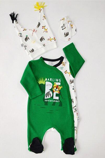 ZehraBebe Erkek Bebek Yeşil Safari Şapkalı Tulum 56-62-68