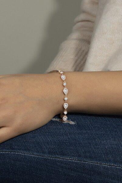 Else Silver Kadın Gümüş Elmas Modeli Damla Taşlı Bileklik