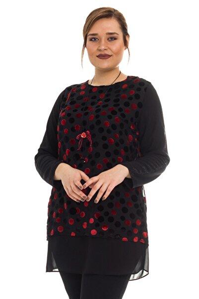 Femina Kadın Kırmızı Kadife Tunik