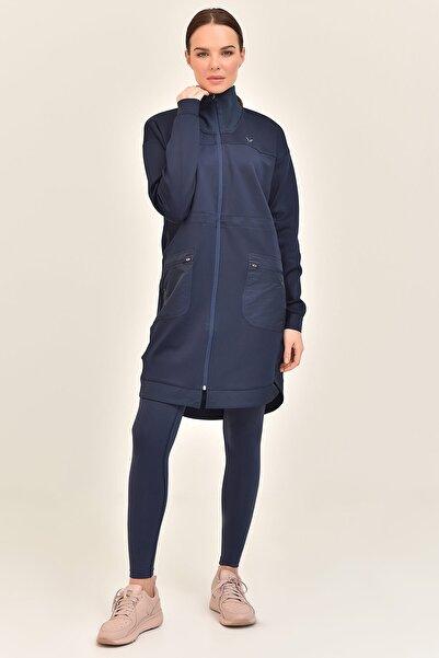 bilcee Kadın Lacivert Uzun Ceket Gs-1521