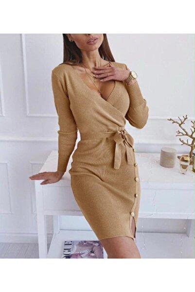 JADE Kadın Kruvaze Bağlamalı Gold Düğme Detaylı Triko Elbise