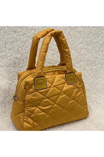 ENES Kadın Sarı Üç Bölmeli Şişme Çanta