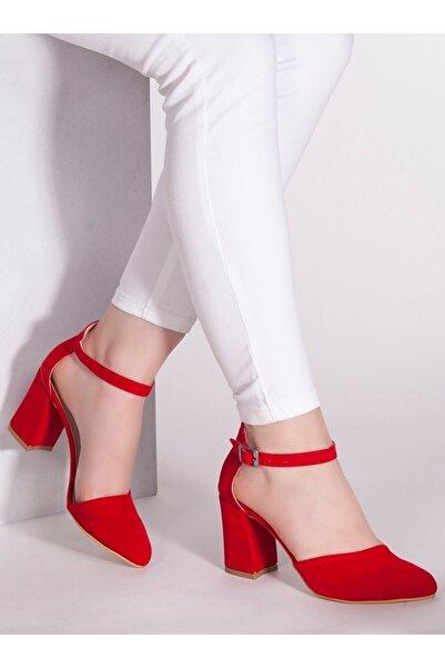 markasende Kadın Kırmızı Betty  Süet Topuklu  Ayakkabı
