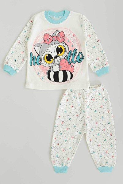 Ahenk Kids Ahenk Kıds 5310 Kız Fiyonklu Kedi Baskılı Pijama Takımı