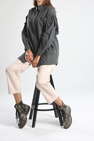 ALLDAY Kadın Gri  Püskük Detaylı Gömlek Tunik
