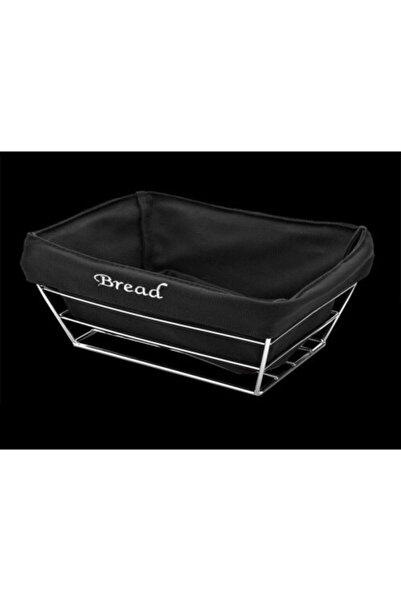 Flora Metal Siyah Kumaşlı Dikdörtgen Ekmek Sepeti 22x36 Cm