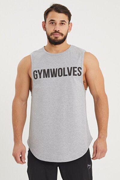 Gymwolves Erkek Kolsuz T-shirt | Gri | Erkek Spor T-shirt | Workout Tanktop |