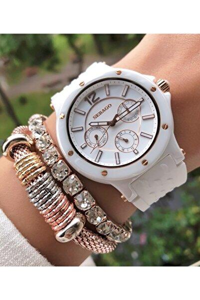 Sebago Kadın Beyaz Fonksiyonlu Saat