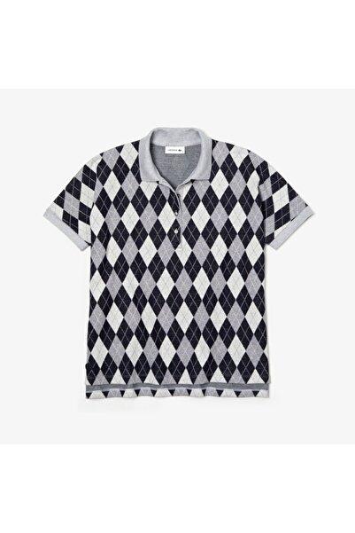 Lacoste Kadın Lacivert Baklava Desenli Polo Yaka T-Shirt