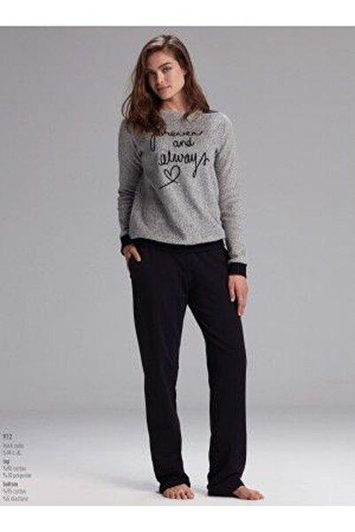 Catherine's Kadın Gri Siyah Baskı Detaylı Iki Iplik Pijama Takımı