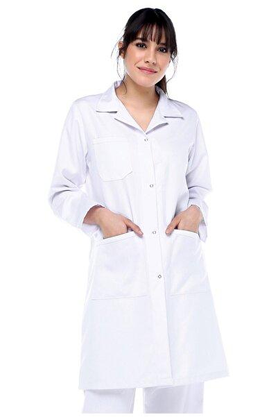 AĞCA İŞ ELBİSELERİ Kadın Beyaz Alpaka Doktor Öğrenci Önlük