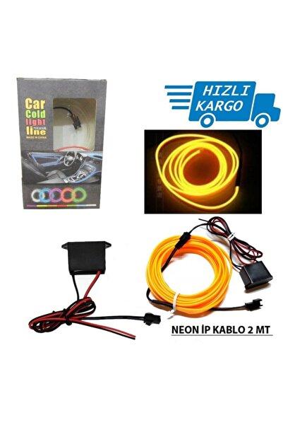 Universal Araba Araç Içi Torpido Ledi Ip Neon Ip Led El Wire 2 Metre Sarı