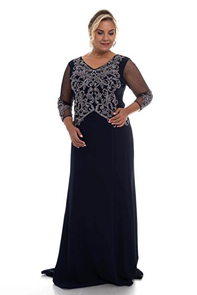 Lila Kadın Lacivert  Tül Kol Nakış Işleme Krep Uzun Elbise