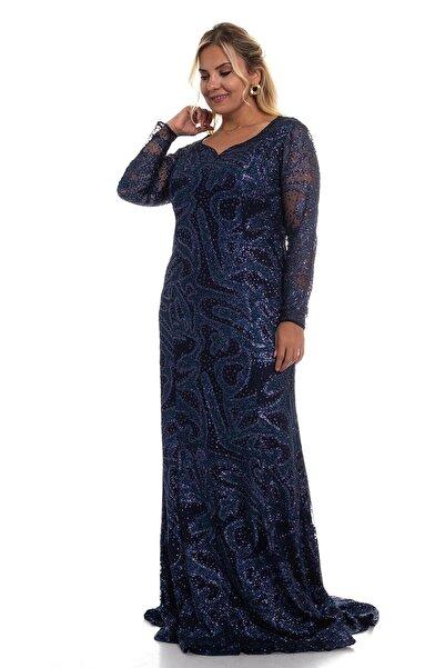Lila Kadın Lacivert Kolları Tül Detay Pullu Uzun Abiye Elbise 9160