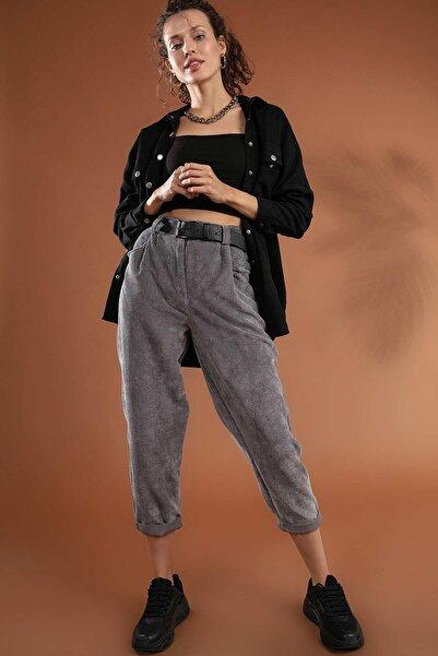Y-London Kadın Gri Yüksek Bel Duble Paça Fitilli Kadife Pantolon