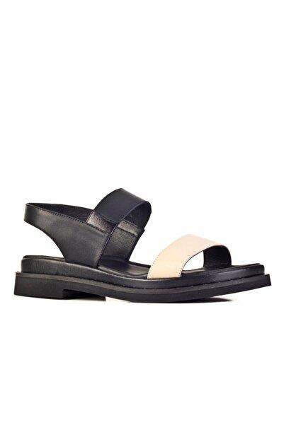 Cabani Günlük Kadın Sandalet Bej-siyah Deri