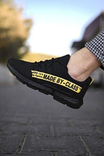 Siyah Sarı Erkek Cilt Sneaker 0012SANTO