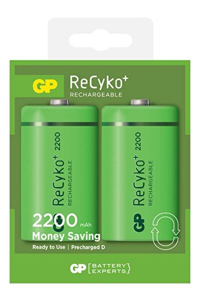 GP Batteries 2200 D Boy Kalın Ni-mh Şarjlı Pil, 1.2 Volt, 2'li Kart