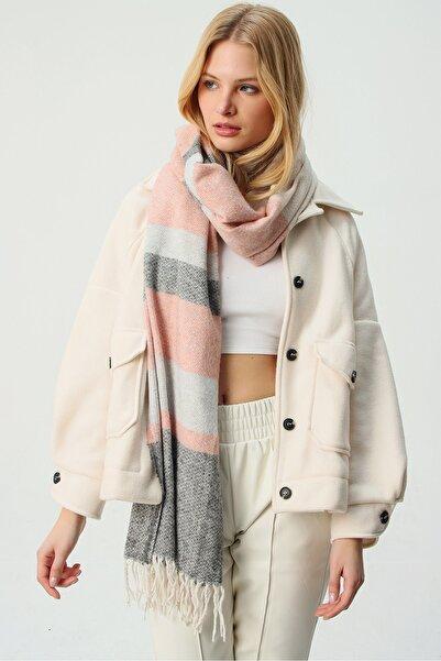 Trend Alaçatı Stili Kadın Pudra Yün Karışımlı Desenli Şal ALC-A2067