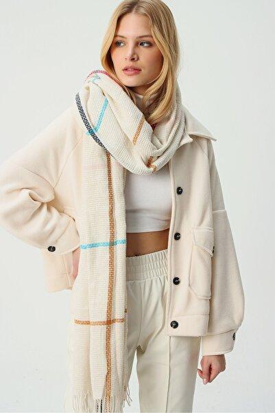 Trend Alaçatı Stili Kadın Ekru Yün Karışımlı Desenli Şal ALC-A2070