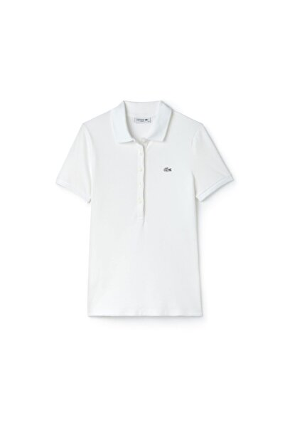 Lacoste Kadın Beyaz Slim Fit Kısa Kollu Polo