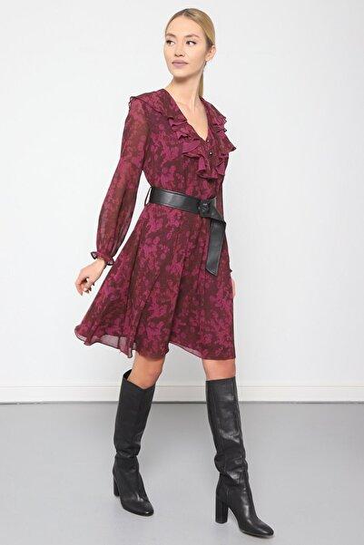Journey Kadın Mürdüm V Yaka Elbise