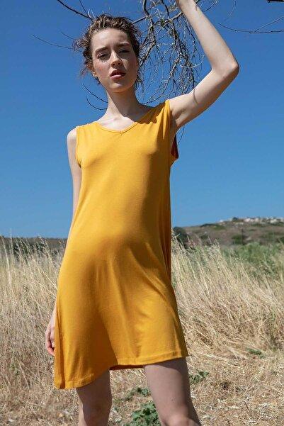 Y-London Kadın Hardal V Yaka Sıfır Kolu Örme Mini Plaj Elbisesi Y20S169-1471