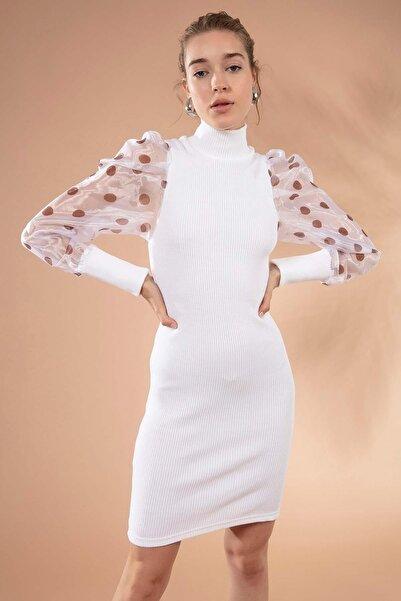 Y-London Kadın Beyaz Puantiyeli Organze Kol Boğazlı Triko Elbise 4110 Y19W110-4110