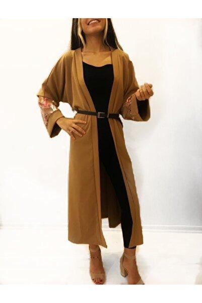 Eyyo Kadın Kahverengi Kol Desenli Kimono