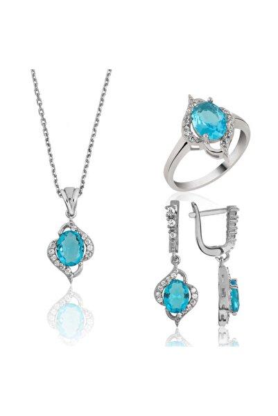 Gumush Kadın Gümüş Mavi Taşlı Set