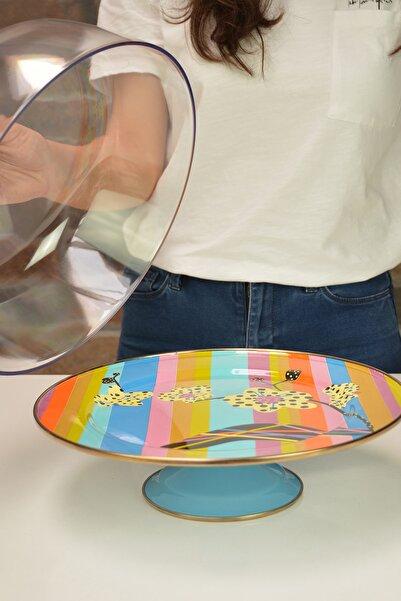 Miss Betty Vintage Kapaklı Kek Fanusu 30cm Rainbow