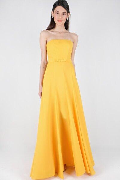 Spazio Kadın Sarı Beli Kemerli Yırtmaçlı Uzun Abiye Elbise