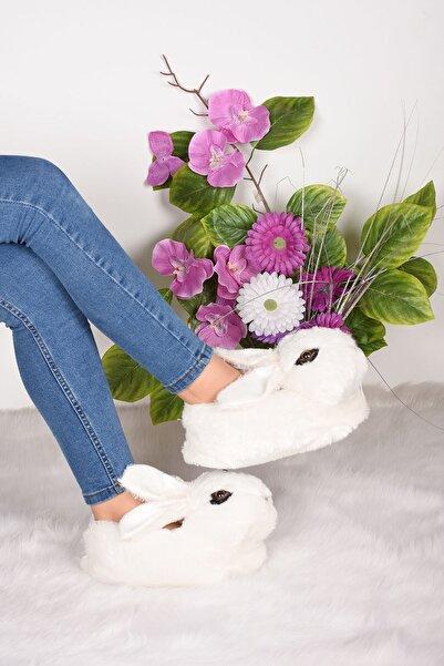 Byn Ayışığı Kadın Beyaz Tavşan Figürlü Peluş Panduf Ba11928