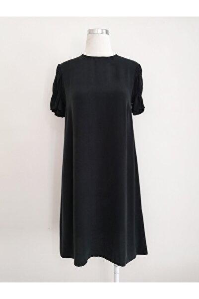 Vekem Kadın Siyah Rahat Kesim Kupra Elbise
