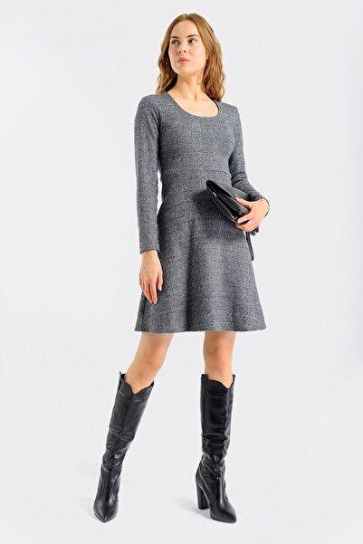 Jument Kadın Antrasit Kadın Ekose Desenli Kışlık Eteği Kiloş Diz Boy Elbise