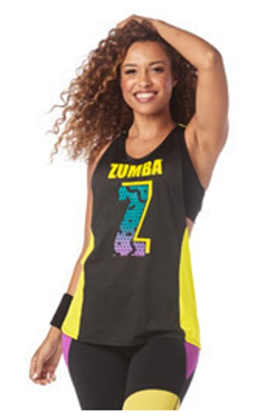 ZUMBA Kadın Siyah Sarı I Want My Twisted Tank Atlet
