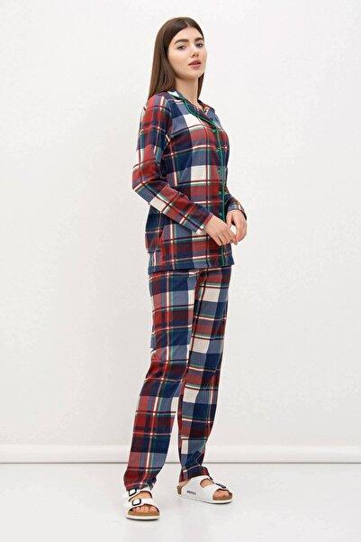 Mossta Kadın Lacivert Kalın Pamuklu Düğmeli Pijama Takımı