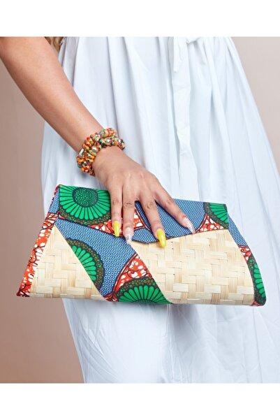 TheAfricanOutletUS Kadın Mavi Desenli Abiye Çantası