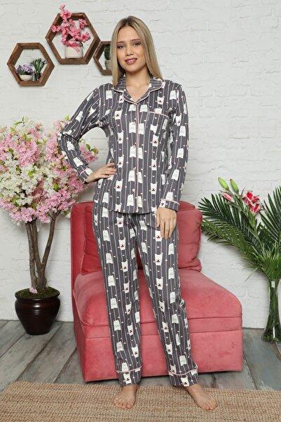 Mossta Kadın Mor Renk Kışlık Düğmeli Pijama Takımı