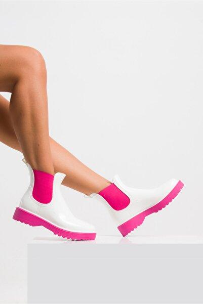 Ataköy Ayakkabı Kadın Pu Beyaz Pembe Yağmur Botu