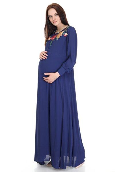 Entarim Kadın Lacivert Hamile Tesettür Elbise